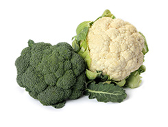 broccoli and cauliflower heads